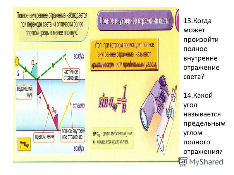13. Когда может произойти полное внутренне отражение света? 14. Какой угол называется предельным углом полного отражения ?