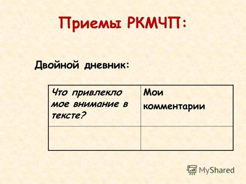 Приемы РКМЧП: Двойной дневник: Что привлекло мое внимание в тексте? Мои комментарии