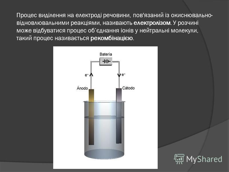 Процес виділення на електроді речовини, пов'язаний із окиснювально- відновлювальними реакціями, називають електролізом. У розчині може відбуватися процес обєднання іонів у нейтральні молекули, такий процес називається рекомбінацією.
