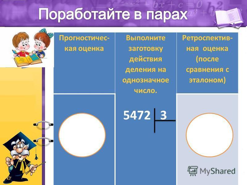 Прогностичес- кая оценка Выполните заготовку действия деления на однозначное число. 5472 3 Ретроспектив- ная оценка (после сравнения с эталоном)