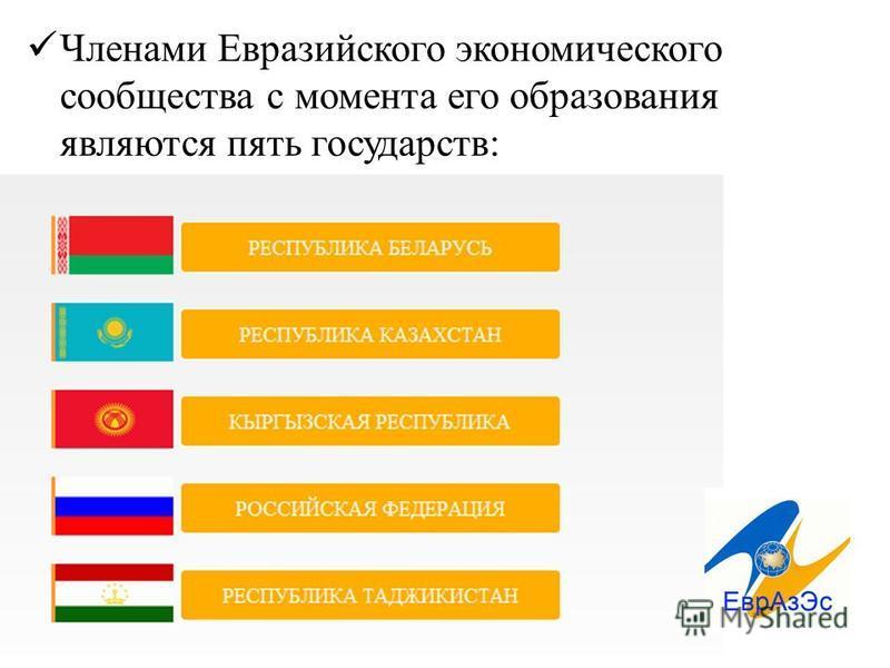 Членами Евразийского экономического сообщества с момента его образования являются пять государств: