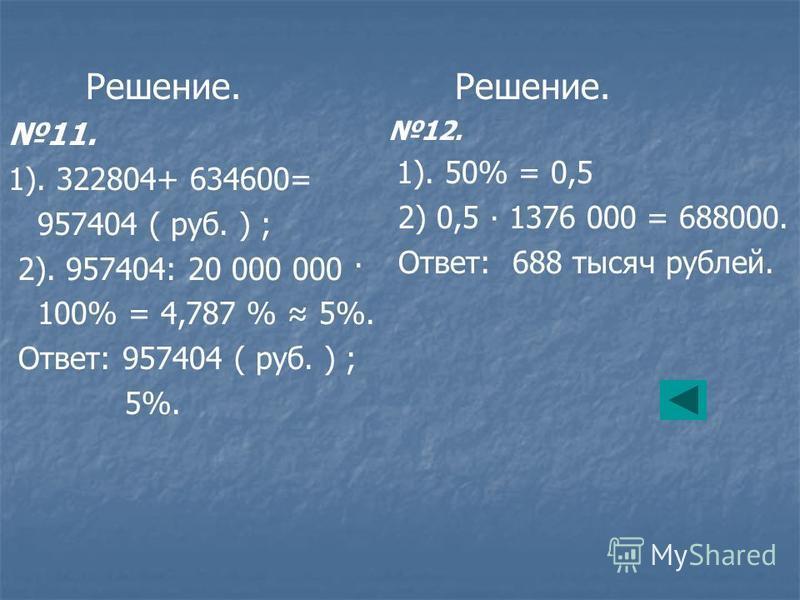 Решение. 11. 1). 322804+ 634600= 957404 ( руб. ) ; 2). 957404: 20 000 000 · 100% = 4,787 % 5%. Ответ: 957404 ( руб. ) ; 5%. Решение. 12. 1). 50% = 0,5 2) 0,5 1376 000 = 688000. Ответ: 688 тысяч рублей.