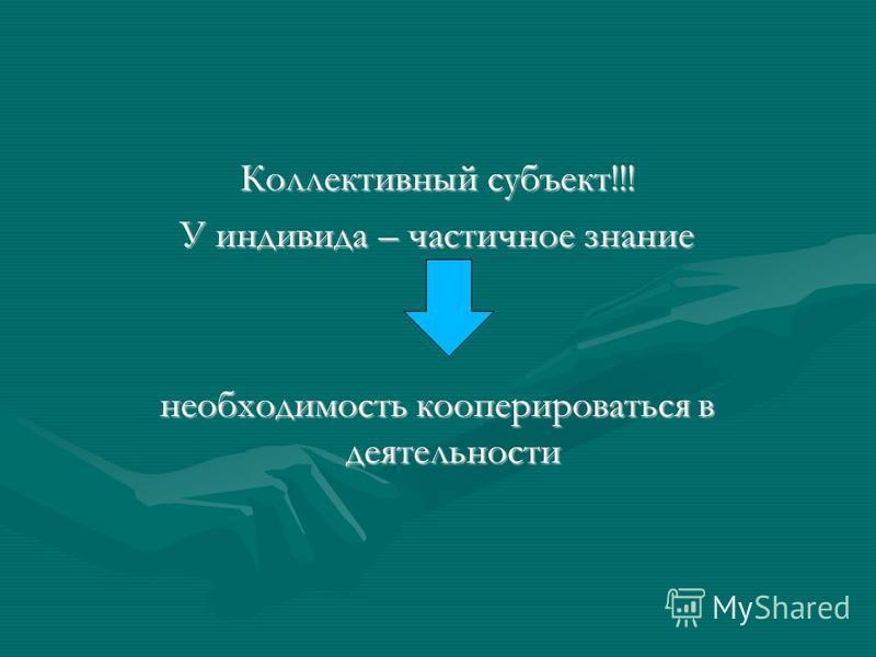 Коллективный субъект!!! У индивида – частичное знание необходимость кооперироваться в деятельности