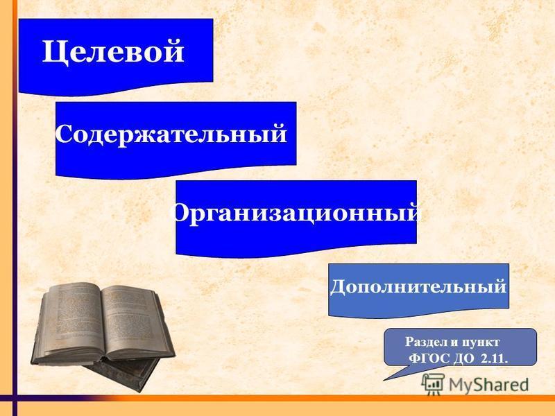 Целевой Содержательный Организационный Дополнительный Раздел и пункт ФГОС ДО 2.11.