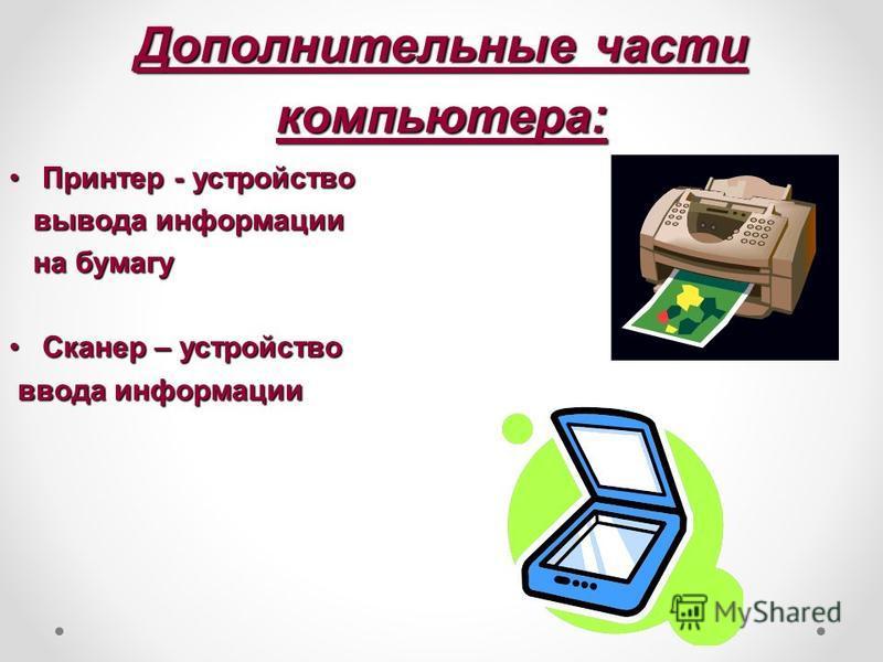 Дополнительные части компьютера: Принтер - устройство Принтер - устройство вывода информации вывода информации на бумагу на бумагу Сканер – устройство Сканер – устройство ввода информации ввода информации