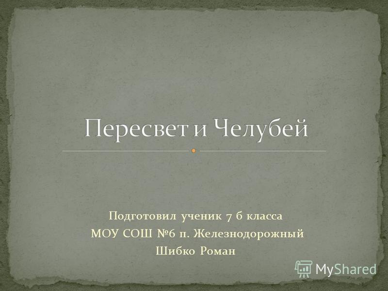 Подготовил ученик 7 б класса МОУ СОШ 6 п. Железнодорожный Шибко Роман