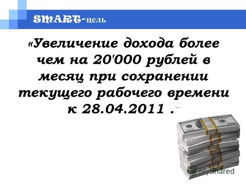 SMART- цель «Увеличение дохода более чем на 20'000 рублей в месяц при сохранении текущего рабочего времени к 28.04.2011.»
