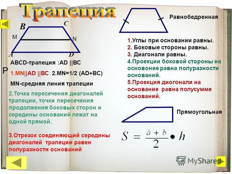 P D B А C ABCD-трапеция :AD ||ВС 1.МN||AD ||ВС 2.МN=1/2 (АD+BC) МN-средняя линия трапеции N М Равнобедренная 1. Углы при основании равны. 2. Боковые стороны равны. 3. Диагонали равны. 4. Проекции боковой стороны на основание равна полуразности основа