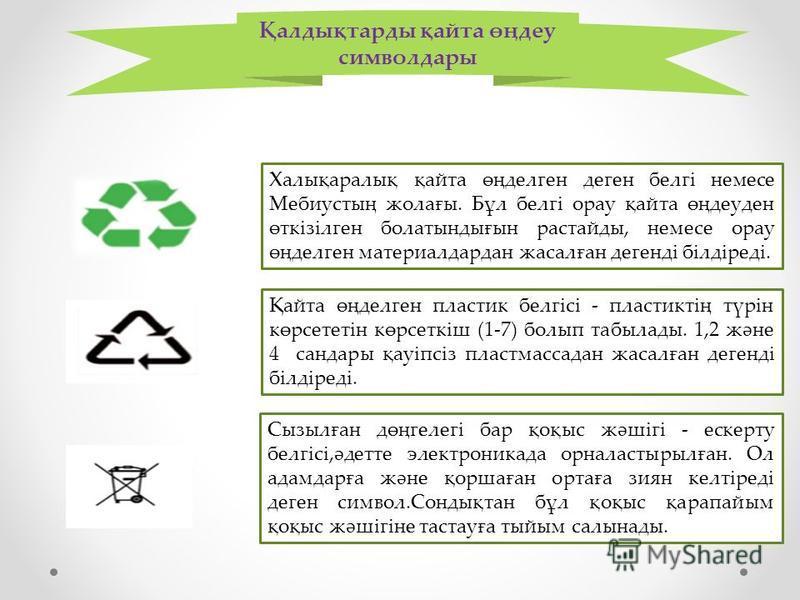 Қалдықтарды қайта өңдеу символдары Халықаралық қайта өңделген деген белгі немесе Мебиустың жолағы. Бұл белгі орау қайта өңдеуден өткізілген болатындығын растайды, немесе орау өңделген материалдардан жасалған дегенді білдіреді. Қайта өңделген пластик