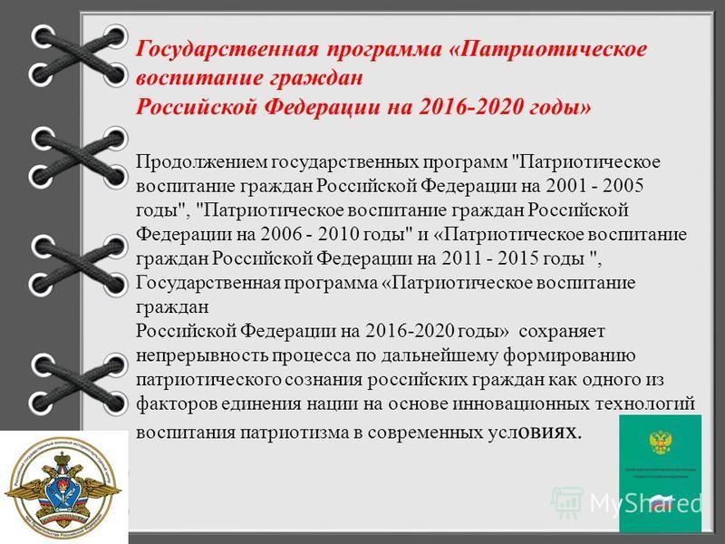Госпрограмма патриотическое воспитание граждан рф на 2016 2020 годы