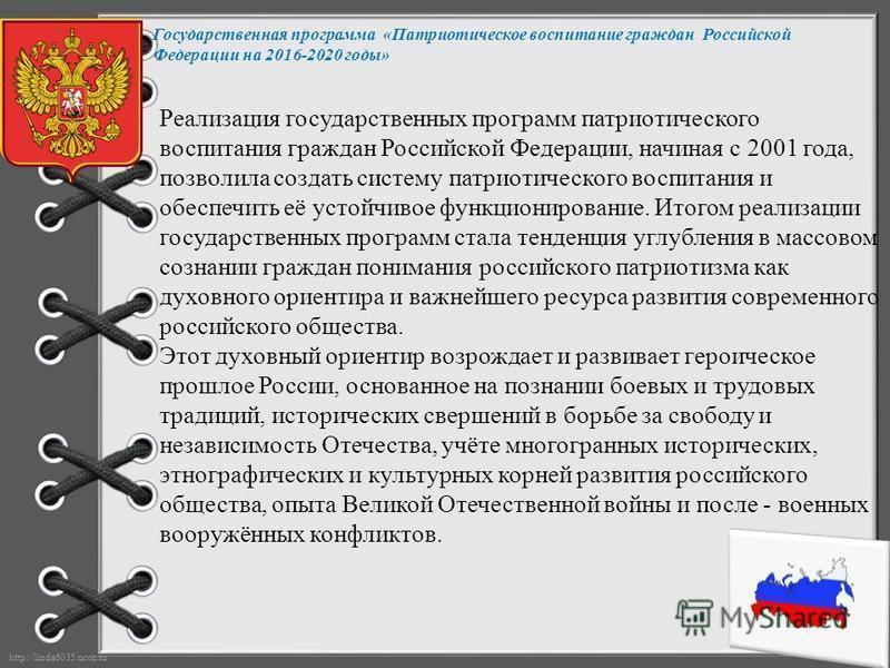 http://linda6035.ucoz.ru/ Государственная программа «Патриотическое воспитание граждан Российской Федерации на 2016-2020 годы» Реализация государственных программ патриотического воспитания граждан Российской Федерации, начиная с 2001 года, позволила