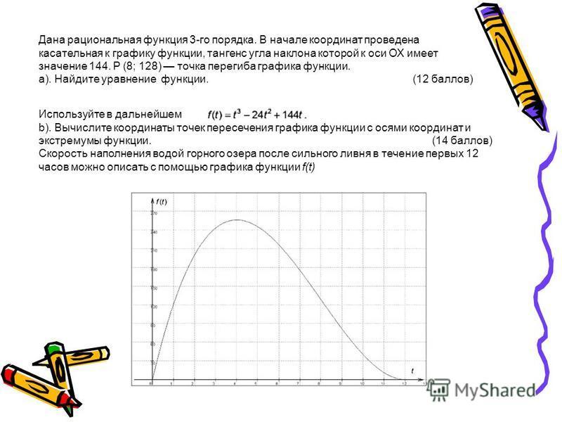 Дана рациональная функция 3-го порядка. В начале координат проведена касательная к графику функции, тангенс угла наклона которой к оси ОХ имеет значение 144. Р (8; 128) точка перегиба графика функции. а). Найдите уравнение функции. (12 баллов) Исполь