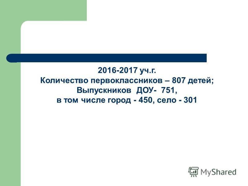 2016-2017 уч.г. Количество первоклассников – 807 детей; Выпускников ДОУ- 751, в том числе город - 450, село - 301