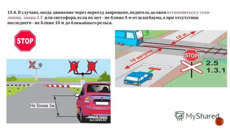 15.4. В случаях, когда движение через переезд запрещено, водитель должен остановиться у стоп - линии, знака 2.5 или светофора, если их нет - не ближе 5 м от шлагбаума, а при отсутствии последнего - не ближе 10 м до ближайшего рельса.