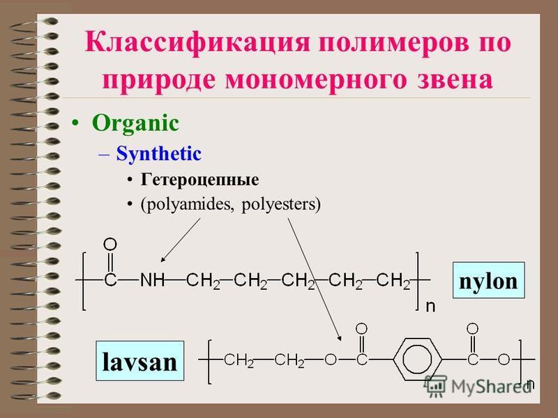 Классификация полимеров по природе мономерного звена Organic –Synthetic Гетероцепные (polyamides, polyesters) nylon lavsan