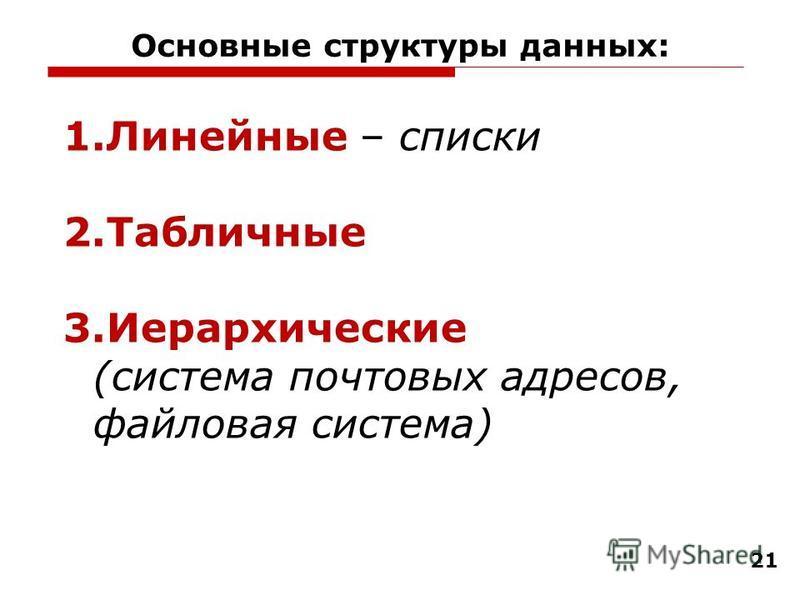 Основные структуры данных: 21 1. Линейные – списки 2. Табличные 3. Иерархические (система почтовых адресов, файловая система)