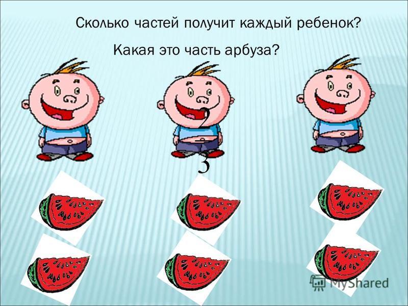 Сколько частей получит каждый ребенок? Какая это часть арбуза?