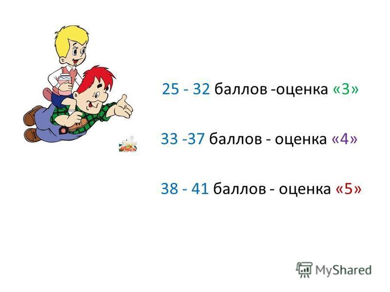 25 - 32 баллов -оценка «3» 33 -37 баллов - оценка «4» 38 - 41 баллов - оценка «5»