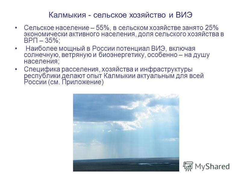 Калмыкия - сельское хозяйство и ВИЭ Сельское население – 55%, в сельском хозяйстве занято 25% экономически активного населения, доля сельского хозяйства в ВРП – 35%; Наиболее мощный в России потенциал ВИЭ, включая солнечную, ветряную и биоэнергетику,