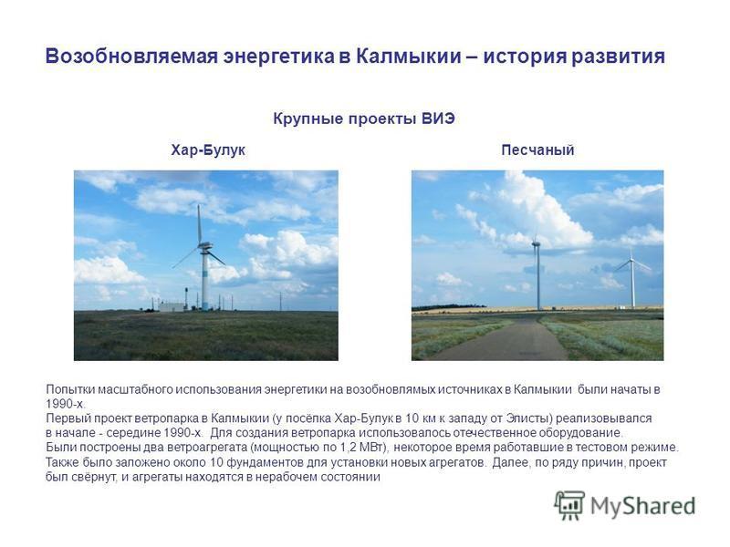 Крупные проекты ВИЭ Хар-Булук Песчаный Возобновляемая энергетика в Калмыкии – история развития Попытки масштабного использования энергетики на возобновляемых источниках в Калмыкии были начаты в 1990-х. Первый проект ветропарка в Калмыкии (у посёлка Х