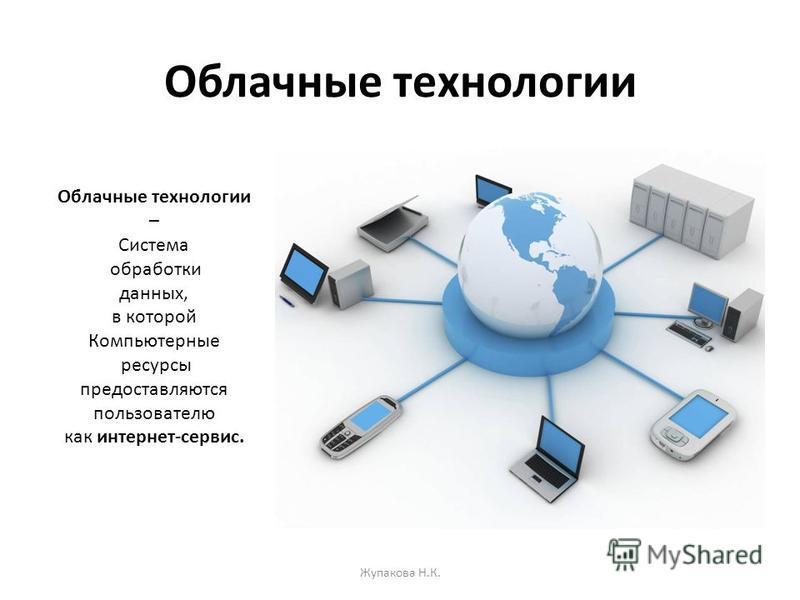 Облачные технологии Жупакова Н.К. Облачные технологии – Система обработки данных, в которой Компьютерные ресурсы предоставляются пользователю как интернет-сервис.