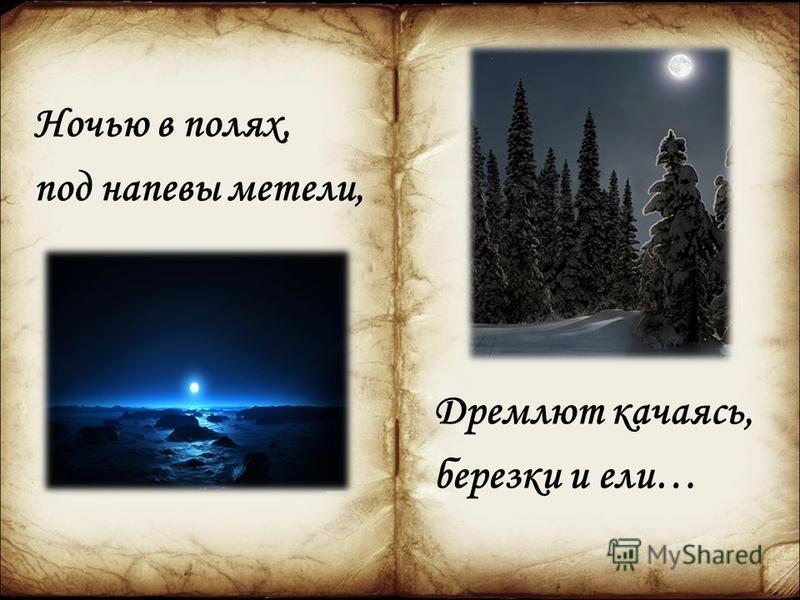 Ночью в полях, под напевы метели, Дремлют качаясь, березки и ели…