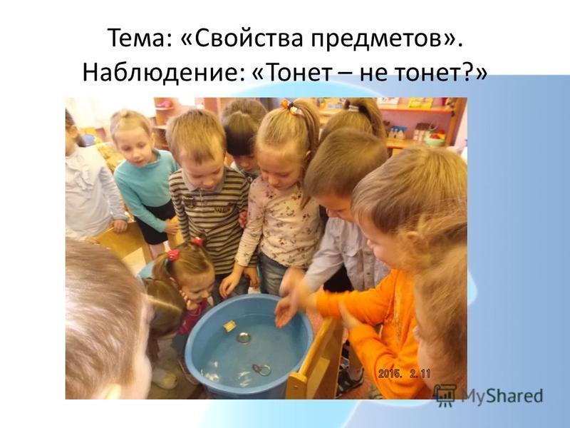 Тема: «Свойства предметов». Наблюдение: «Тонет – не тонет?»