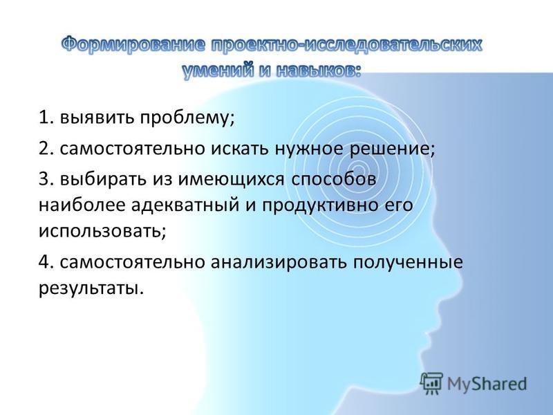 1. выявить проблему; 2. самостоятельно искать нужное решение; 3. выбирать из имеющихся способов наиболее адекватный и продуктивно его использовать; 4. самостоятельно анализировать полученные результаты.
