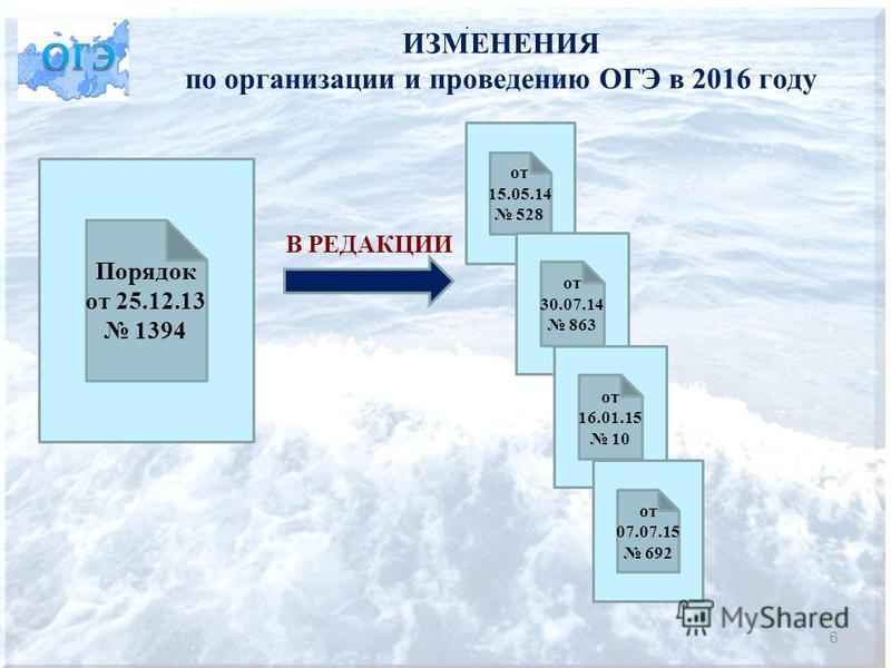 ИЗМЕНЕНИЯ по организации и проведению ОГЭ в 2016 году 6. Порядок от 25.12.13 1394 В РЕДАКЦИИ от 15.05.14 528 от 30.07.14 863 от 16.01.15 10 от 07.07.15 692