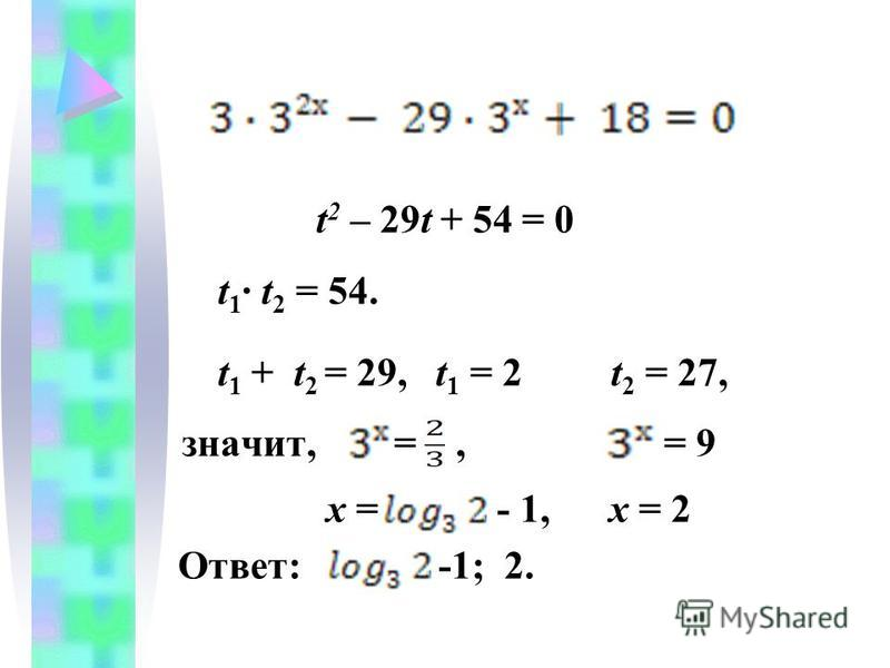 t 2 – 29t + 54 = 0 t 1 · t 2 = 54. t 1 + t 2 = 29, t 1 = 2 t 2 = 27, значит, =, = 9 х = - 1, х = 2 Ответ: -1; 2.