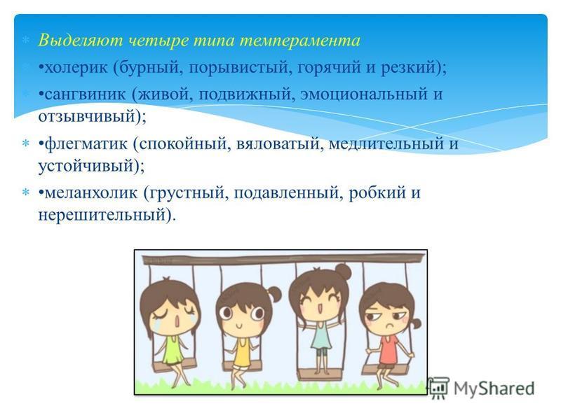 Выделяют четыре типа темперамента холерик (бурный, порывистый, горячий и резкий); сангвиник (живой, подвижный, эмоциональный и отзывчивый); флегматик (спокойный, вяловатый, медлительный и устойчивый); меланхолик (грустный, подавленный, робкий и нереш