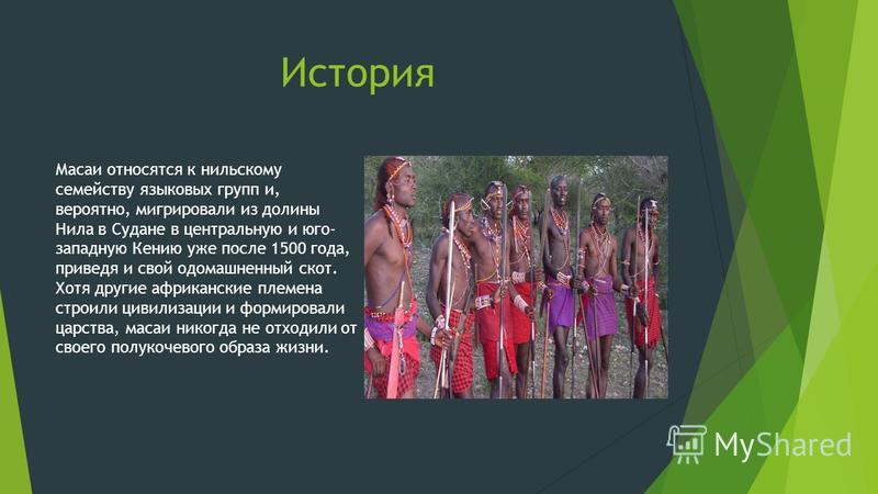 История Масаи относятся к нильскому семейству языковых групп и, вероятно, мигрировали из долины Нила в Судане в центральную и юго- западную Кению уже после 1500 года, приведя и свой одомашненный скот. Хотя другие африканские племена строили цивилизац
