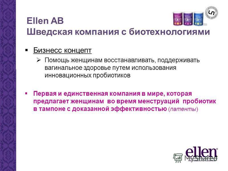 Ellen AB Шведская компания с биотехнологиями Бизнесс концепт Помощь женщинам восстанавливать, поддерживать вагинальное здоровье путем использования инновационных пробиотиков Первая и единственная компания в мире, которая предлагает женщинам во время
