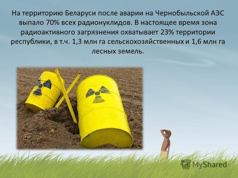 На территорию Беларуси после аварии на Чернобыльской АЭС выпало 70% всех радионуклидов. В настоящее время зона радиоактивного загрязнения охватывает 23% территории республики, в т.ч. 1,3 млн га сельскохозяйственных и 1,6 млн га лесных земель.