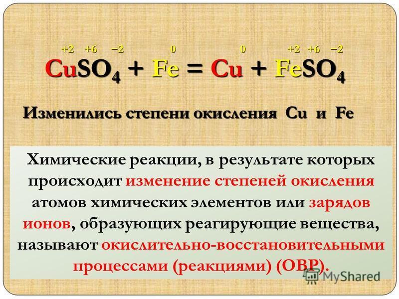CuSO 4 + Fe = Cu + FeSO 4 +2+2+6+62200 Изменились степени окисления Cu и Fe Химические реакции, в результате которых происходит изменение степеней окисления атомов химических элементов или зарядов ионов, образующих реагирующие вещества, называют окис