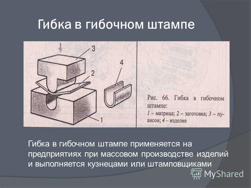 Гибка в гибочном штампе Гибка в гибочном штампе применяется на предприятиях при массовом производстве изделий и выполняется кузнецами или штамповщиками