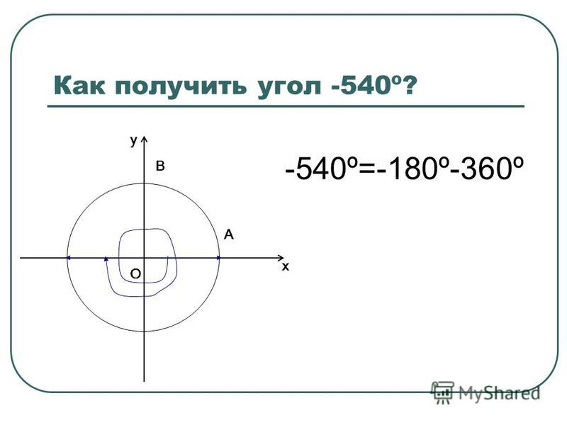 Как получить угол -540º? О х у В А -540º=-180º-360º