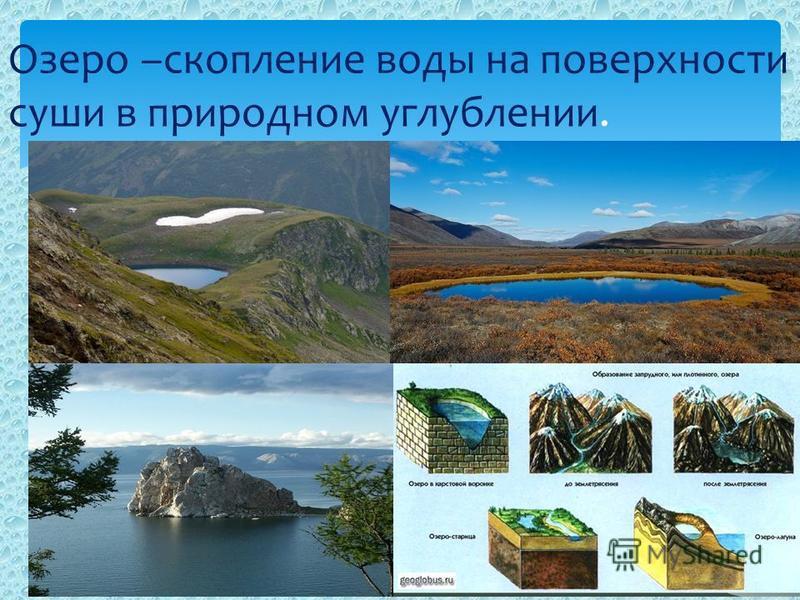 Озеро –скопление воды на поверхности суши в природном углублении.