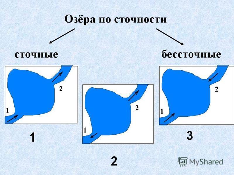 Схема :озера делятся на сточное и бессточные