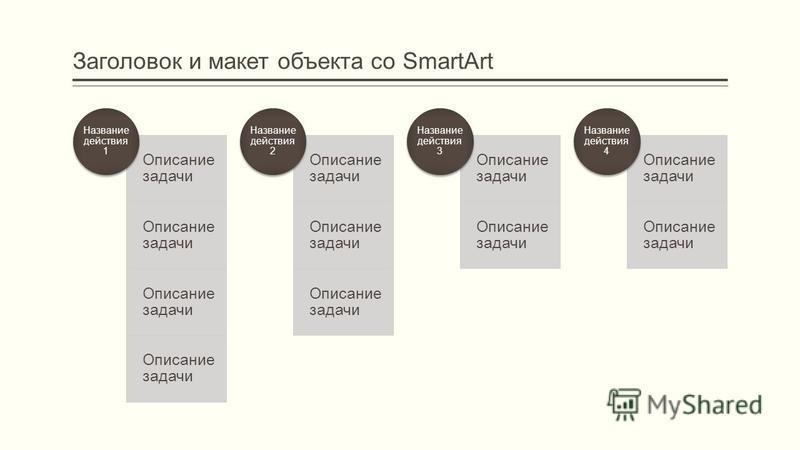 Заголовок и макет объекта со SmartArt Описание задачи Название действия 1 Описание задачи Название действия 2 Описание задачи Название действия 3 Описание задачи Название действия 4