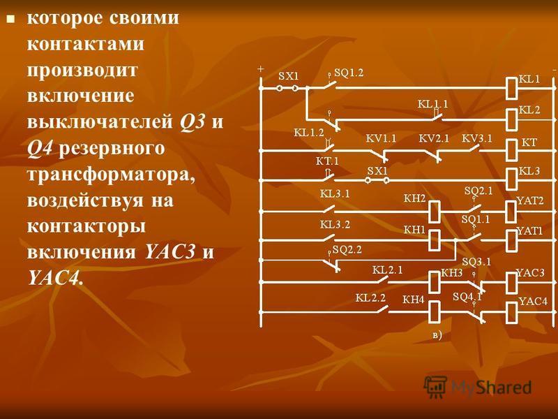 которое своими контактами производит включение выключателей Q3 и Q4 резервного трансформатора, воздействуя на контакторы включения YAC3 и YAC4.