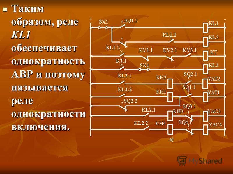 Таким образом, реле КL1 обеспечивает однократность АВР и поэтому называется реле однократности включения. Таким образом, реле КL1 обеспечивает однократность АВР и поэтому называется реле однократности включения.