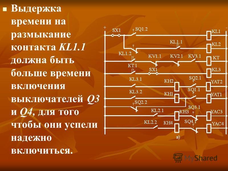 Выдержка времени на размыкание контакта KL1.1 должна быть больше времени включения выключателей Q3 и Q4, для того чтобы они успели надежно включиться.