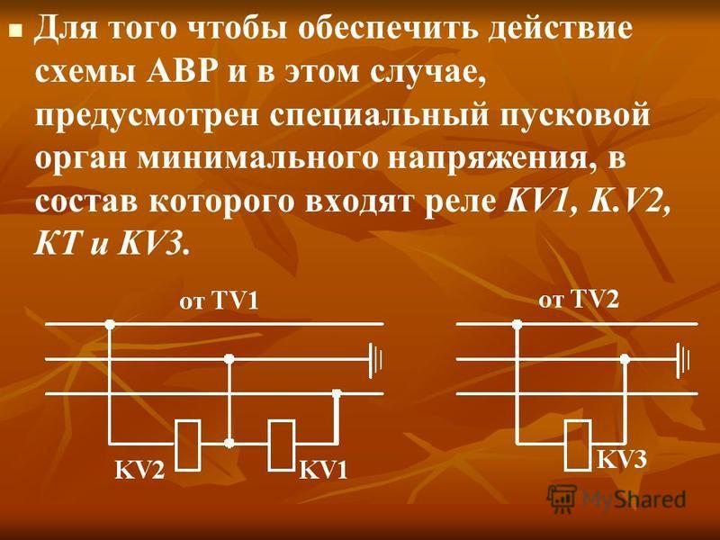Для того чтобы обеспечить действие схемы АВР и в этом случае, предусмотрен специальный пусковой орган минимального напряжения, в состав которого входят реле KV1, K.V2, КТ и KV3.