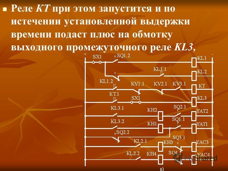 Реле КТ при этом запустится и по истечении установленной выдержки времени подаст плюс на обмотку выходного промежуточного реле KL3,