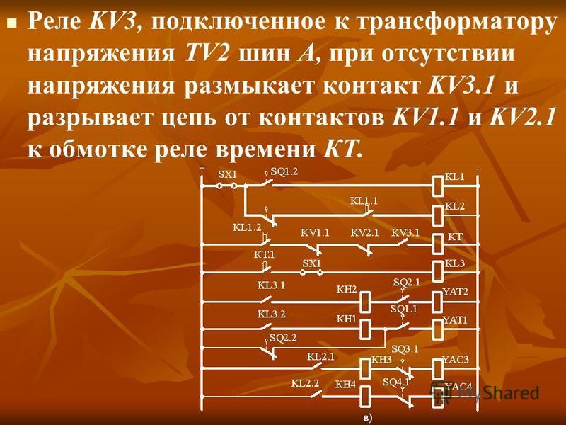 Реле KV3, подключенное к трансформатору напряжения TV2 шин А, при отсутствии напряжения размыкает контакт KV3.1 и разрывает цепь от контактов KV1.1 и KV2.1 к обмотке реле времени КТ.