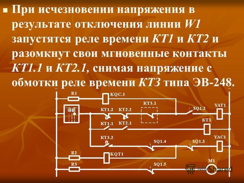 При исчезновении напряжения в результате отключения линии W1 запустятся реле времени КТ1 и КТ2 и разомкнут свои мгновенные контакты КТ1.1 и КТ2.1, снимая напряжение с обмотки реле времени КТЗ типа ЭВ-248.