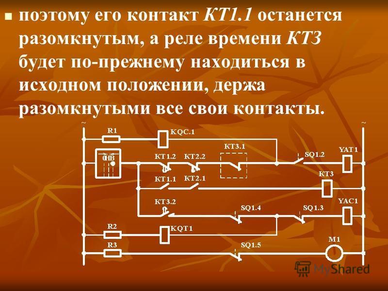 поэтому его контакт КТ1.1 останется разомкнутым, а реле времени КТЗ будет по-прежнему находиться в исходном положении, держа разомкнутыми все свои контакты.