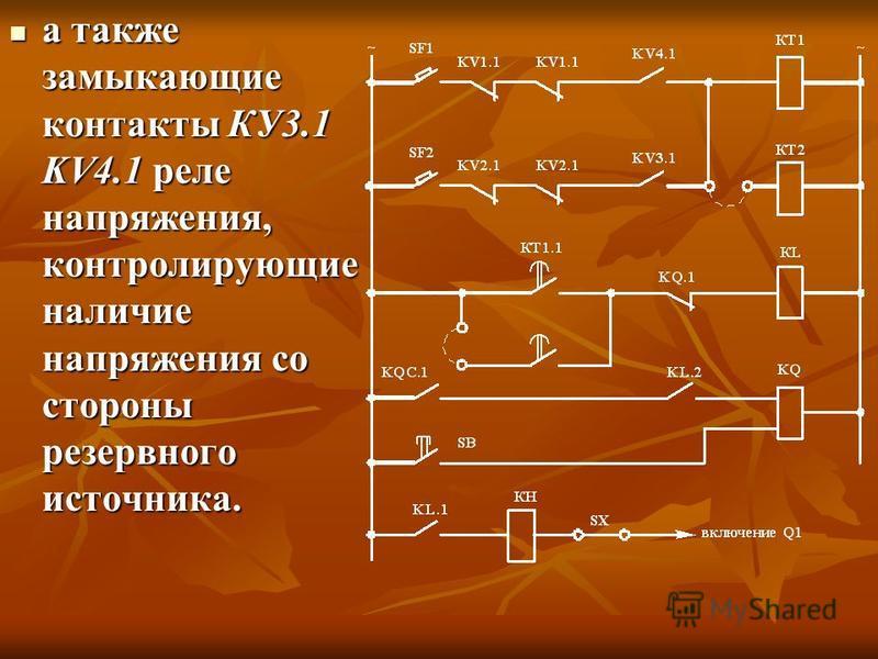 а также замыкающие контакты КУ3.1 KV4.1 реле напряжения, контролирующие наличие напряжения со стороны резервного источника. а также замыкающие контакты КУ3.1 KV4.1 реле напряжения, контролирующие наличие напряжения со стороны резервного источника.