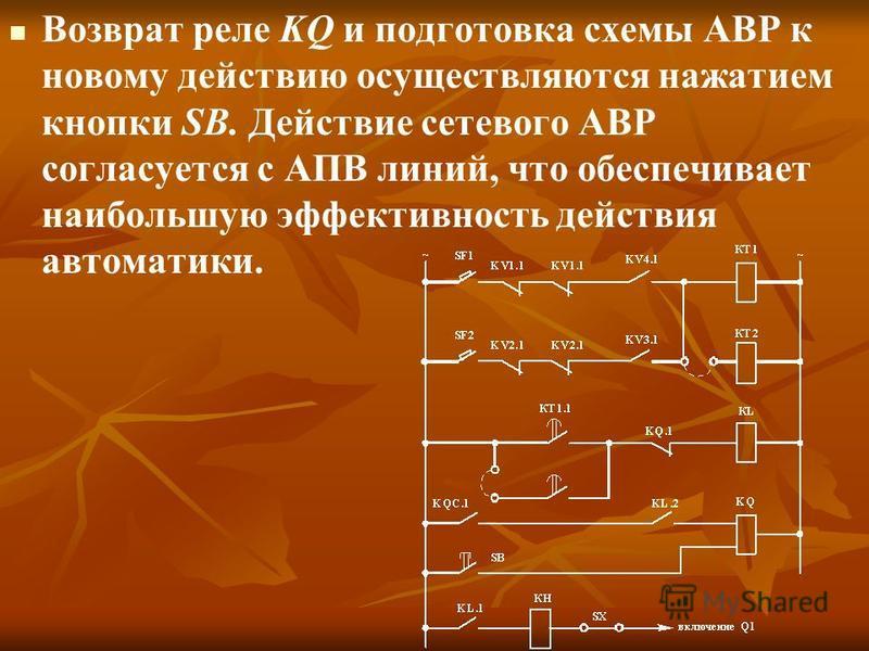 Возврат реле KQ и подготовка схемы АВР к новому действию осуществляются нажатием кнопки SB. Действие сетевого АВР согласуется с АПВ линий, что обеспечивает наибольшую эффективность действия автоматики.